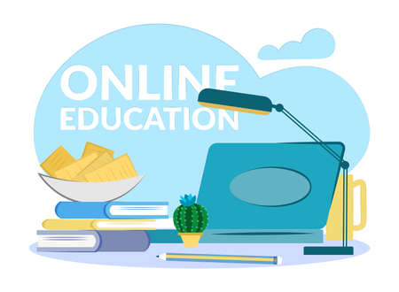 flat composition education web seminar. Online education on the Internet.Open laptop, books, pencil, apples in a plate, lamp.