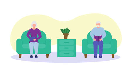 elderly people read at home. mini composition. old people together, grandparents love.happy old man and old woman reading a book in a chair Иллюстрация