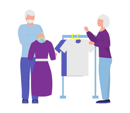 elderly people shopping. vector illustration. married couple buy clothes. active pensioners