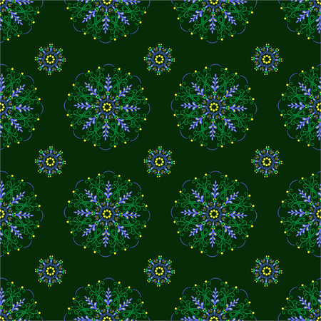 Seamless circle pattern, floral background, vector image for design on fabric, abstract wallpaper, vintage texture, retro, green