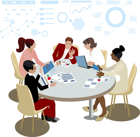 Business meeting promo banners with worker around table. Employees and boss discuss problems or analyze graphics as team vector illustrations set. Vector Businessman brainstorming and work sessions Banque d'images - 124198883