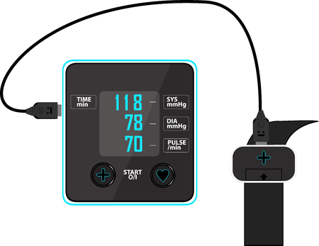 Check the blood pressure and heart rate of elderly men for good health with pressure monitor. Healthcare concept, blood pressure monitor image in vector. Illustration