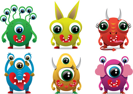 Cute sweet monster color character funny design element