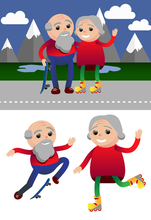 roller skating: Vector illustration sport healthy and leisure old people activities Illustration
