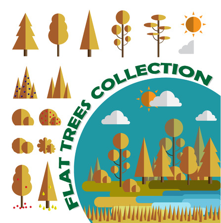 bushes: Set. Trees and bushes. Flat, games, app. Vector illustration. Isolated. Illustration