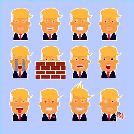president of the usa: Set of president USA Trump. Smiley. Illustration