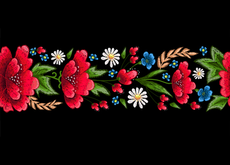 Embroidery stitches with flowers. Vector fashion embroidered ornament for textile, fabric decoration. Vettoriali