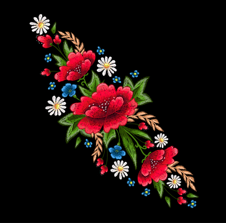 Embroidery stitches with flowers. Vector fashion embroidered ornament for textile, fabric decoration. Illustration