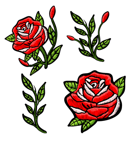 Red roses embroidery patch.