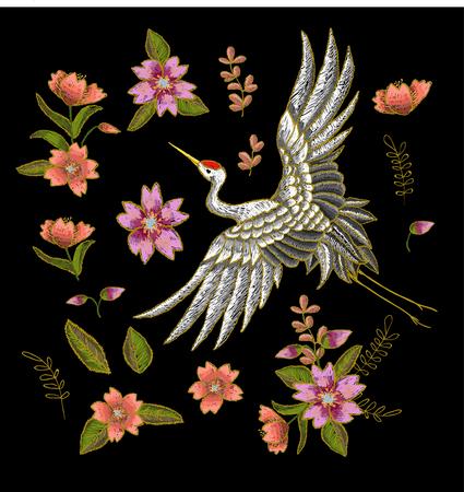 日本人は白鶴と花の要素です。