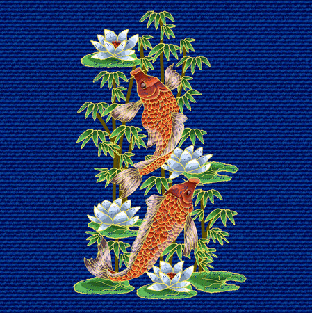 Embroidery with traditional Japanese Carp and flowers.