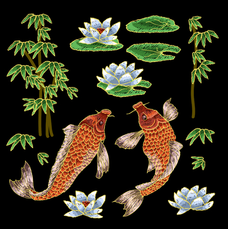 Embroidery with  Japanese Carp and flowers.