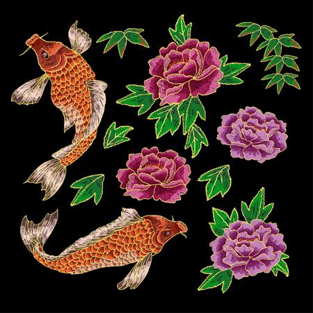 伝統的な日本の鯉と花の刺繍。