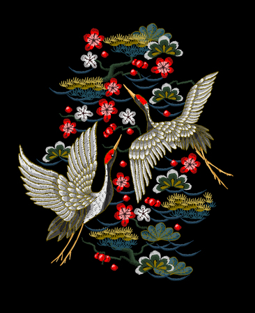 Japanese white cranes with red flowers. Embroidery vector. Vettoriali