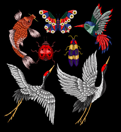 Ladybug, butterfly, beetle, crane, hummingbird embroidery patches. Stickers embroidery for textile design.