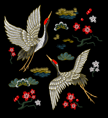 Japanese white cranes with red flowers. Embroidery vector.  イラスト・ベクター素材