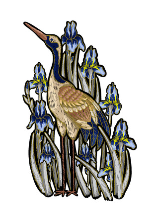Heron-crane embroidery with iris flowers. Vector fashion embroidered design on black background for textile. Illustration