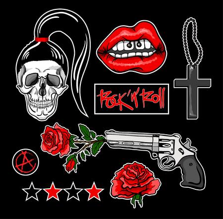 Insignes de patch de mode avec des lèvres, crâne, croix, rose, pistolet et autres éléments. Illustration vectorielle Ensemble d'autocollants, épingles, patches dans le style rocknroll.