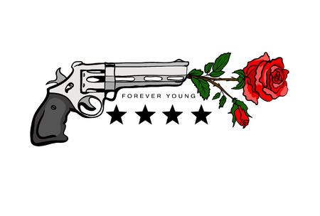 Print for T-shirts with guns and roses. Vector illustration.
