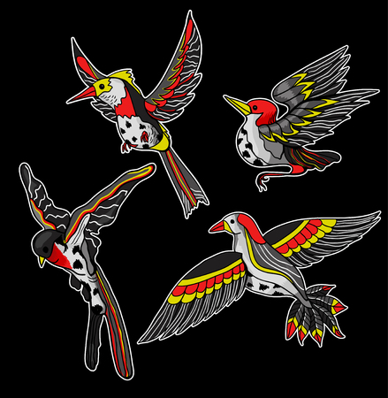 Flying birds stickers for embroidery or print.
