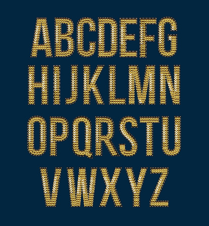 Golden font embroidered sequins to create labels for prints Фото со стока - 84941475