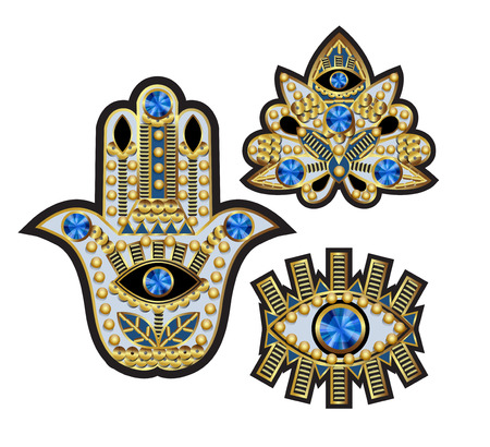 Hamsa, all-seeing eye and lotus patches, embroidered with beads, sequins and jewelry.