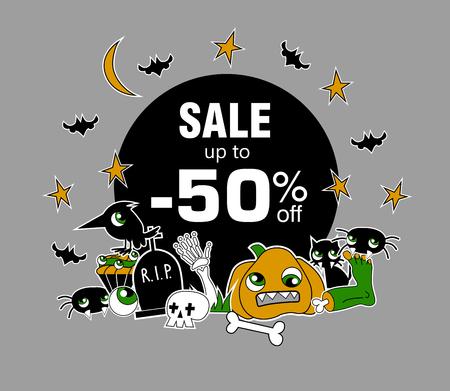 Happy Halloween sale message design
