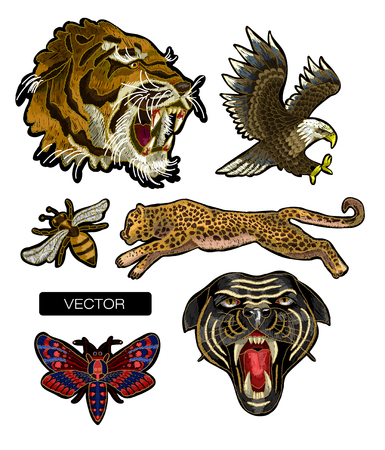 Tiger, bee, butterfly, eagle, leopard and panther embroidery patches Vector Illustration