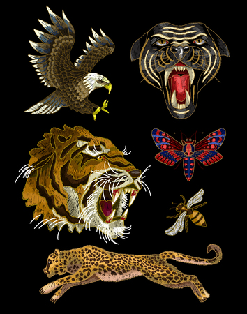 Tiger, bee, butterfly, eagle, leopard and panther embroidery patches Фото со стока - 87804493
