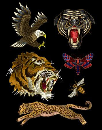 Tiger, Biene, Schmetterling, Adler, Leopard und Panther Stickerei Patches Standard-Bild - 87804493