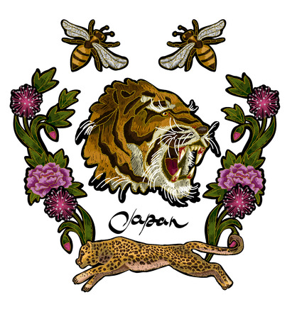Tiger, bee and peony flowers embroidery patches