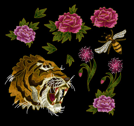 Tiger, bee and peony flowers embroidery patches elements for textile design.