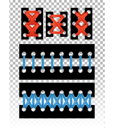 Isolated lacing set with different styles and colors for print.