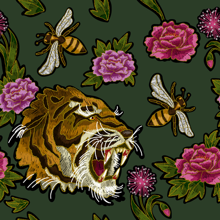Tiger, bee and peony flowers embroidery vector illustration.