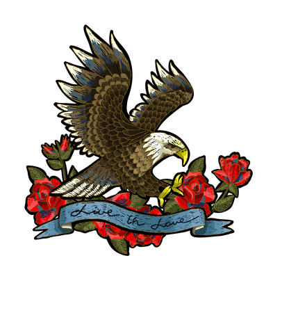 Embroidery With Roses And An Eagle Symbol Of Freedom Royalty Free