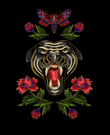 Panther, butterfly and flowers embroidery patch