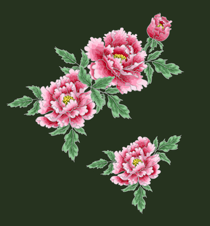 Peony flower of Japanese style. Patches for embroidery or textile print on green background.
