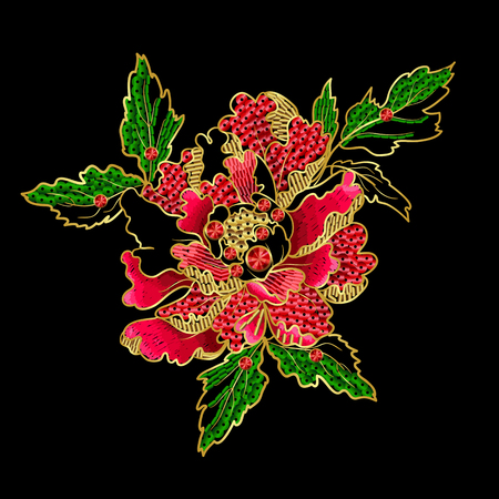 Japanese peony flowers embroidery with sequins and beads for print of textile design. Reklamní fotografie - 89098881