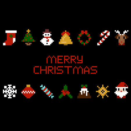 Set of vector pixel art christmas icons. Santa, star, candy, deer, snowflake and other in 8-bit Reklamní fotografie - 89099046