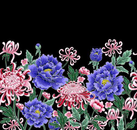Vector hand draw seamless pattern of chrysanthemum and peonies. Illustration