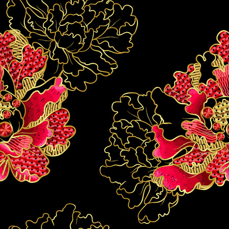 Japanese peony flowers embroidery with sequins and beads for print of textile design.