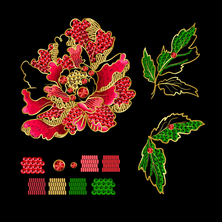 Japanese peony flowers embroidery with sequins and beads for print of textile design. Reklamní fotografie - 89099057