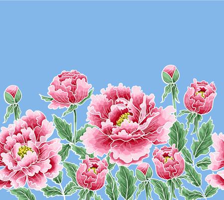Flor de peonía de estilo japonés. Parches para bordado o estampado textil sobre fondo verde. Foto de archivo - 89099180