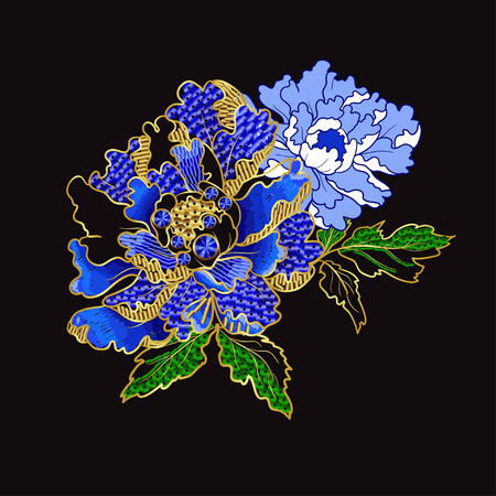 Japanese peony flowers embroidery with sequins and beads for print of textile design. Reklamní fotografie - 89099177
