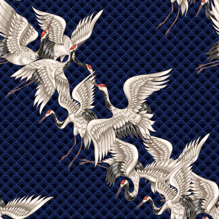Seamless pattern with Japanese white cranes in different poses for your design 일러스트