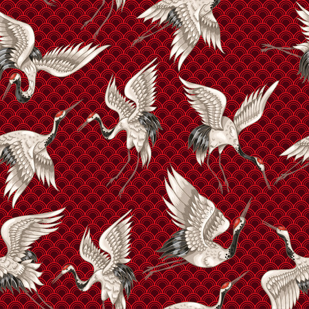 Seamless pattern with Japanese white cranes in different poses for your design Vettoriali