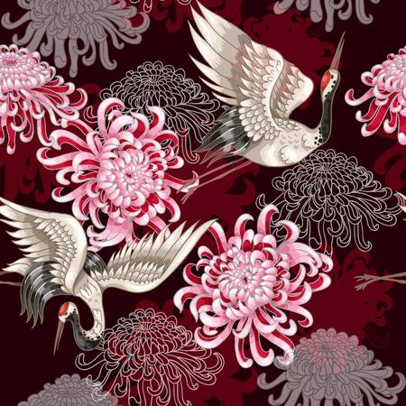 Naadloos patroon met Japanse witte kranen en chrysanten op een Bordeauxachtergrond