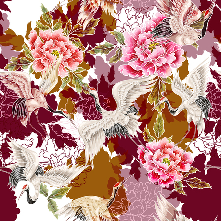 Seamless pattern with Japanese white cranes and chrysanthemums