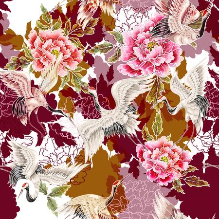 Patrones sin fisuras con grullas blancas japonesas y crisantemos