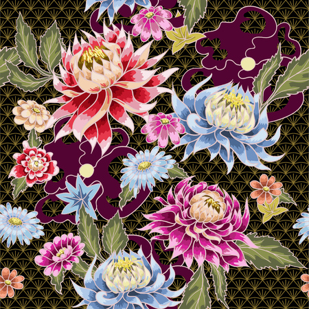 Seamless pattern from painted aster flowers. Japanese style. For textile design or printing.